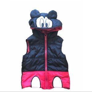 Mickey Mouse Puffer Vest Disney Black Coat Red 3T